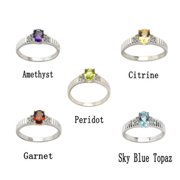 De Buman Genuine Gemstone Sterling Silver Ring Peridot, size 7