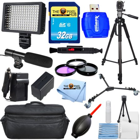 Pro ALL YOU NEED Accessory Bundle for Sony HXR-MC2500 Camcorders With Extra Battery and Charger, Tripod, Dolly, LED Light + MUCH