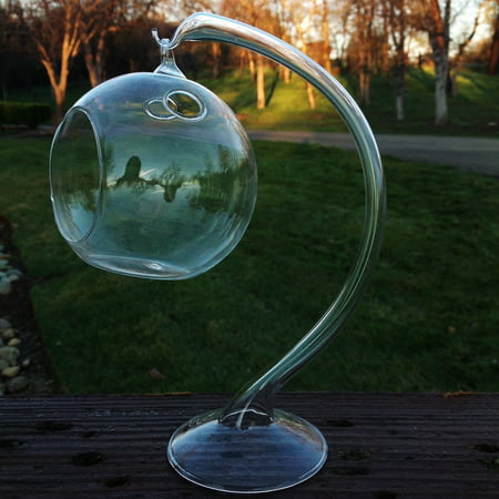 Hanging Round Clear Glass Sphere for Small Succulents, Air Plant or Rock Garden with Glass Stand (Brillen Round Rock)