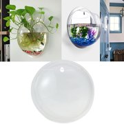 HiCoup Creative Wall Mounted Clear Acrylic Round Fish Tank Flower Pot Vase Home Decor