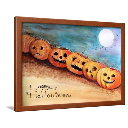 Five Pumpkins in a Row Halloween Framed Print Wall Art By sylvia pimental