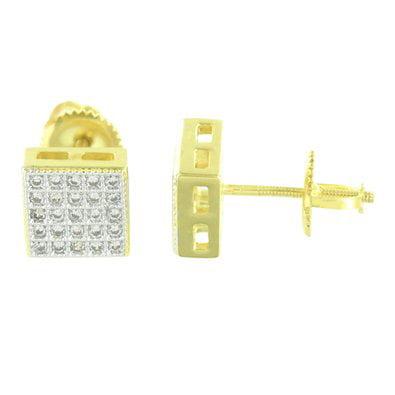 Square Design Gold Earrings 14K Finish Lab Diamonds Screw Back 7 Mm Lowest Price