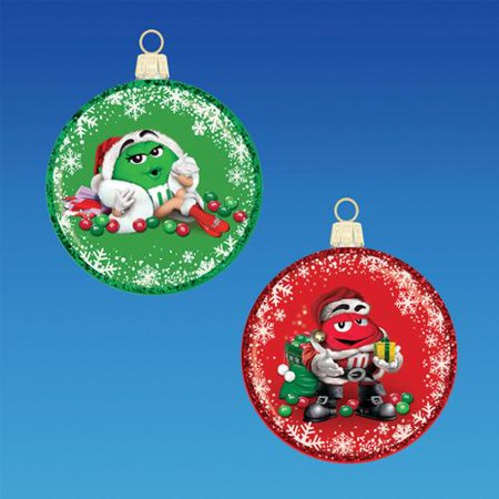 "Pack of 6 Chocolate Shop Red and Green M&M Bubble Glass Disk Christmas Ornaments 3.5"" - Walmart.com"