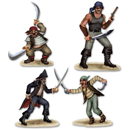 Club Pack of 36 Insta-Theme Dueling Pirate and Bandit Wall Decorations 47.5