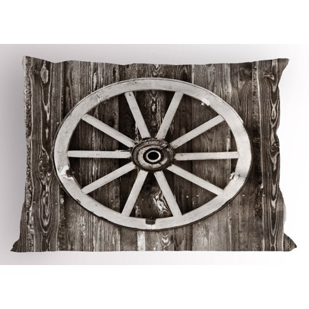 Village Circle - Barn Wood Wagon Wheel Pillow Sham Retro Wheel on Timber Wall Barn House Village Cart Circle, Decorative Standard Size Printed Pillowcase, 26 X 20 Inches, Dark Brown and White, by Ambesonne