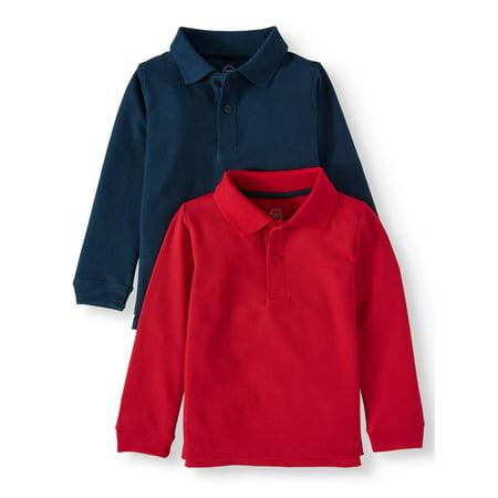 Wonder Nation School Uniform Long Sleeve Double Pique Polo, 2-Pack Value Bundle (Toddler Boys) (Toddler Police Uniform)