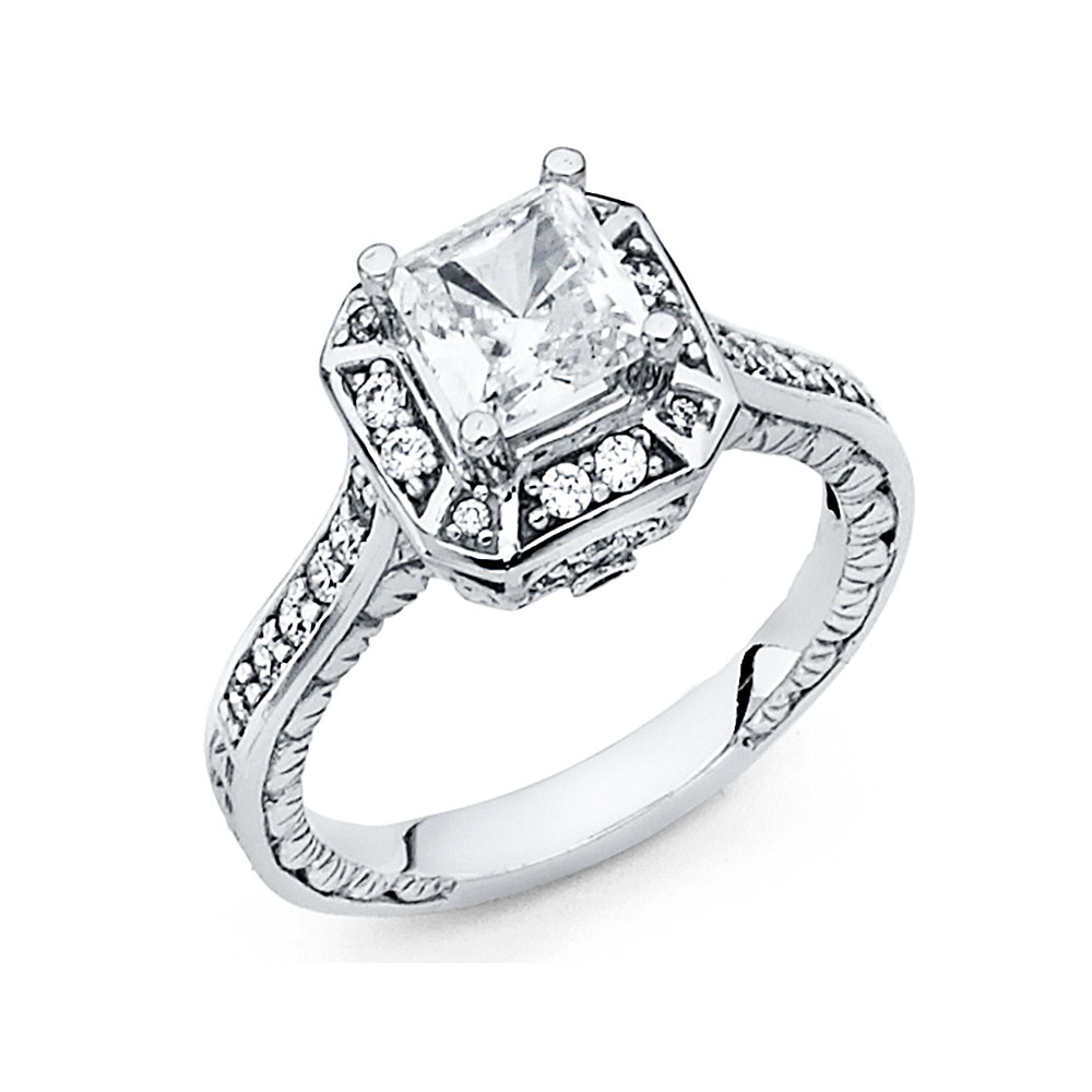 14K Solid White Gold Polished Cubic Zirconia Princess Cut Halo Wedding Engagement Ring, Size 5.5