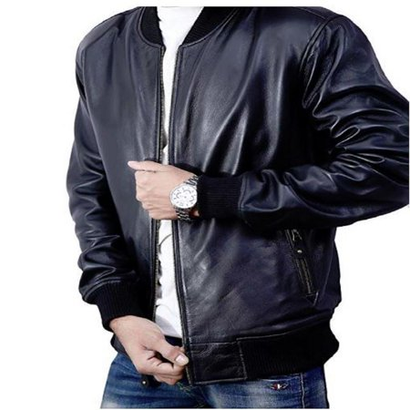 - Bomber Jacket men, Black Genuine Lambskin Leather Jacket for Men, Novelty Style