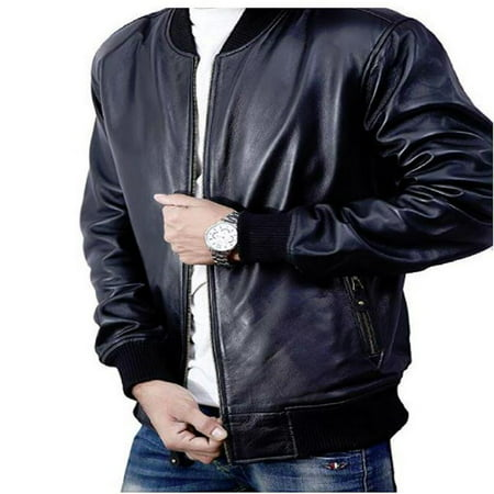 Bomber Jacket men, Black Genuine Lambskin Leather Jacket for Men, Novelty