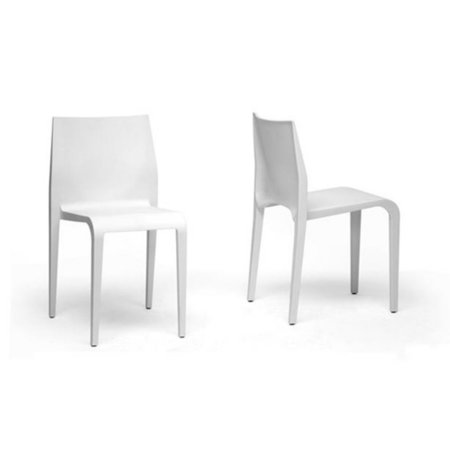 Baxton Studio Blanche White Stackable Molded Plastic Modern Dining Chair Set Of 2