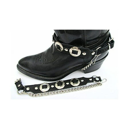 Western Biker Boot Chains Black Leather with Triple Nickel