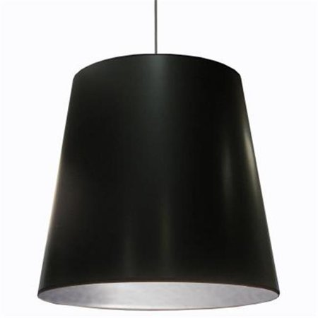 1 Light Oversized Drum Pendant with Black on Silver Shade, X-Large
