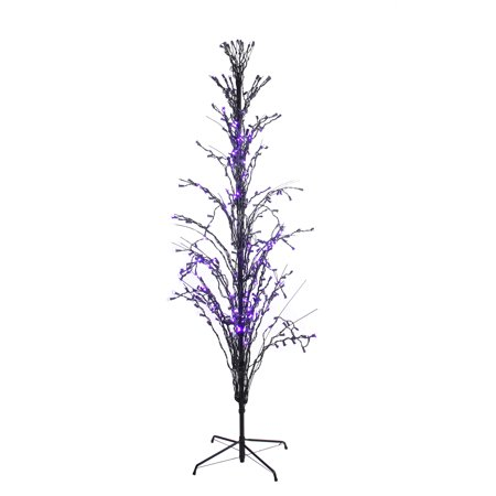 6' Purple LED Lighted Halloween Cascade Twig Tree Outdoor Yard Art Decoration - Halloween Outdoor Tree Decorations