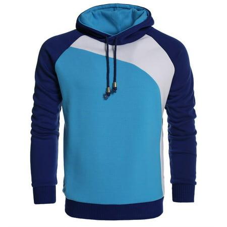 Mens Long Sleeve Color Block Raglan Shirt with Hoodie Front Pocket