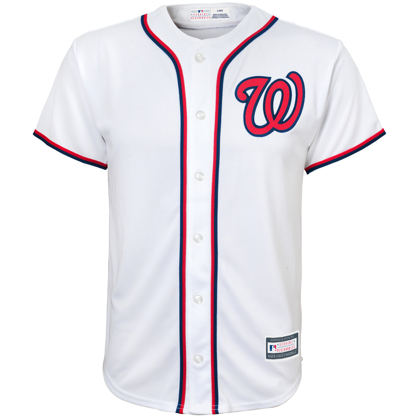 Washington Nationals Youth Replica Blank Team Jersey - White
