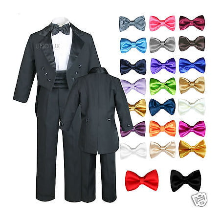 6pc Satin Bow Tie Baby Toddler Boy Formal Black Tail Tuxedo Suit S M L XL 2T-20 - Tail Tuxedo