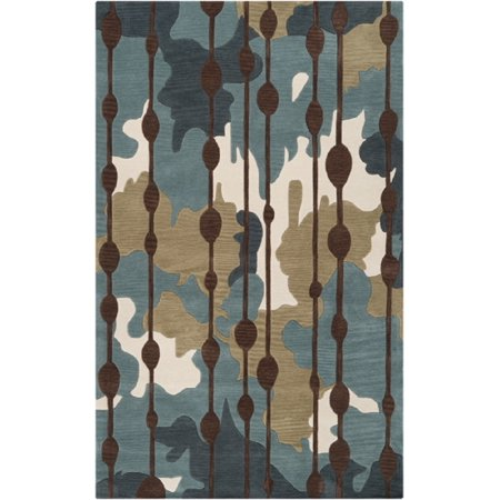 5' x 7.5' Opulence Ikat Teal and Chocolate Brown Hand Tufted Area Throw Rug ()