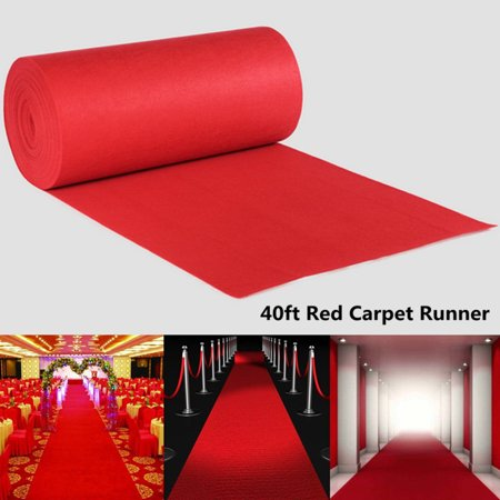 Meigar 40ftX3ft Large Red VIP Carpet Runner,Wedding Aisle Floor Runner ,Best Occasion Aisle Runner,Hollywood Party Decoration,Valentine's Day Decoration