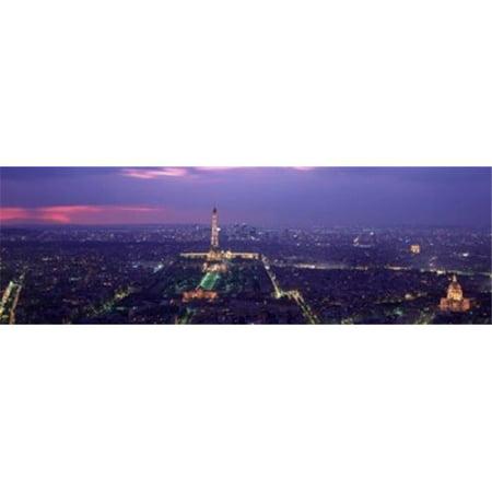 Panoramic Images PPI48461L Aerial view of a city at twilight  Eiffel Tower  Paris  Ile-de-France  France Poster Print by Panoramic Images - 36 x 12 - image 1 of 1