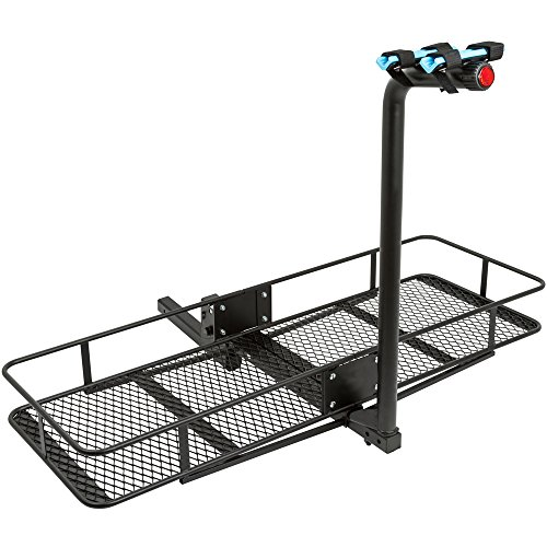 "2-Bicycle 60"" Folding Cargo Carrier Basket Rack Combo for 2"" Hitches"