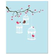 Secretly Designed Tree Blossom Bird Cage Art Print