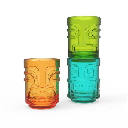 Tiki Trio (Shot Glasses Set, Tiki Trio Assorted Colors Funny Cute Shot Glass, Set Of)