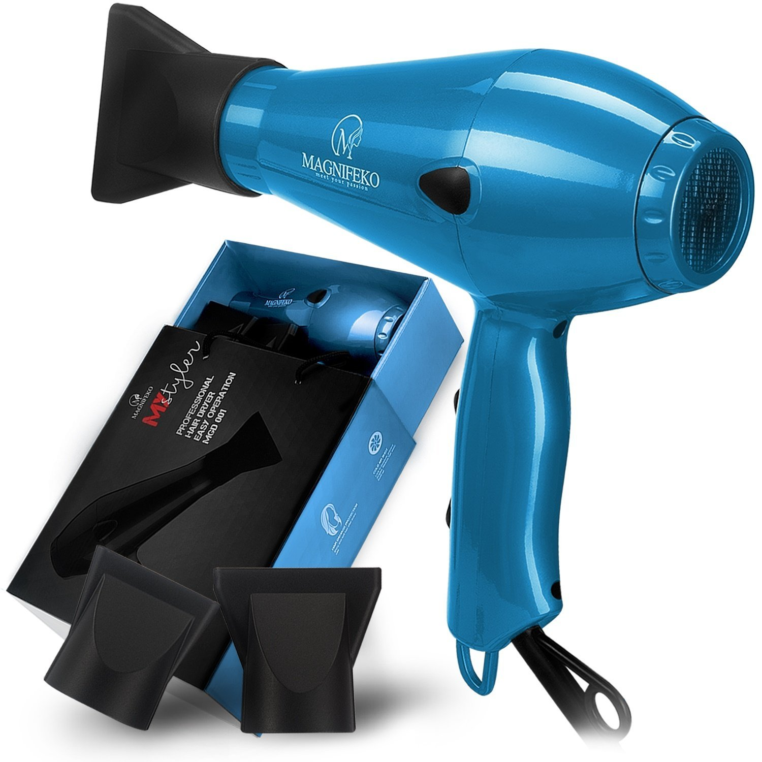 1875W Professional Hair Dryer with Ionic Conditioning - Powerful, Fast Dry Blow Dryer - 2 Speeds, 3 Heat Settings Blue