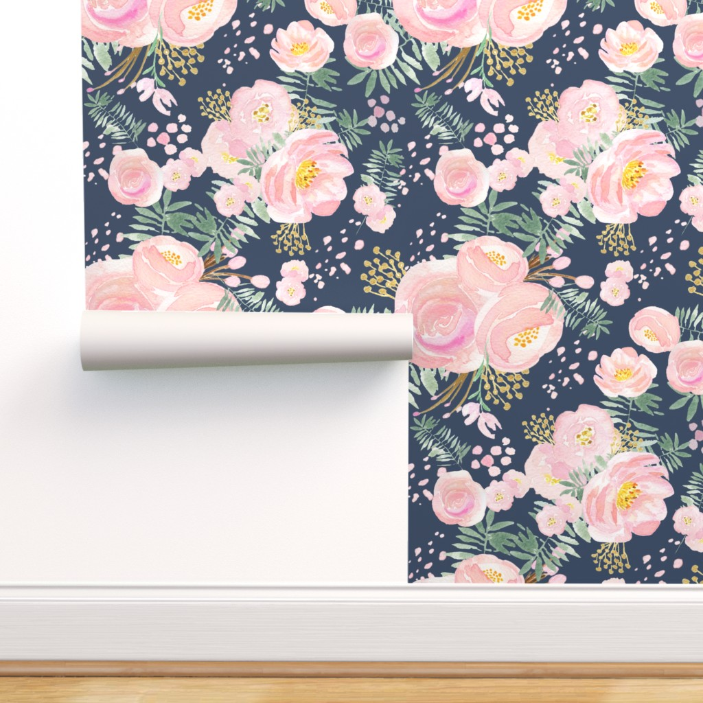 Peel And Stick Removable Wallpaper Navy Floral Pink Watercolour