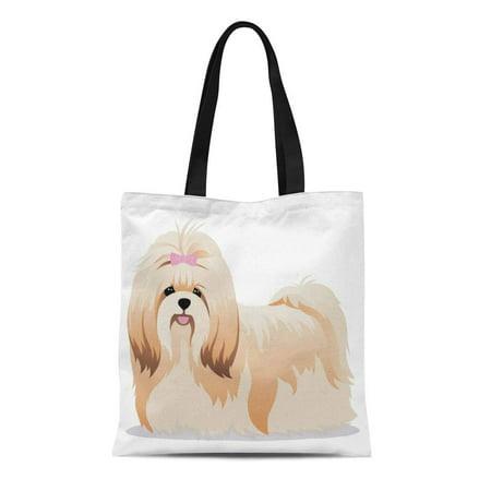 - ASHLEIGH Canvas Tote Bag Brown Shih Tzu Dog Bow Breed Cartoon Long Durable Reusable Shopping Shoulder Grocery Bag