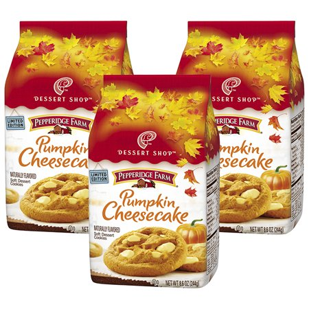 (3 Pack) Pepperidge Farm Dessert Shop Soft Baked Pumpkin Cheesecake Cookies, 8.6 oz. Bag - Halloween Pumpkin Face Cookies