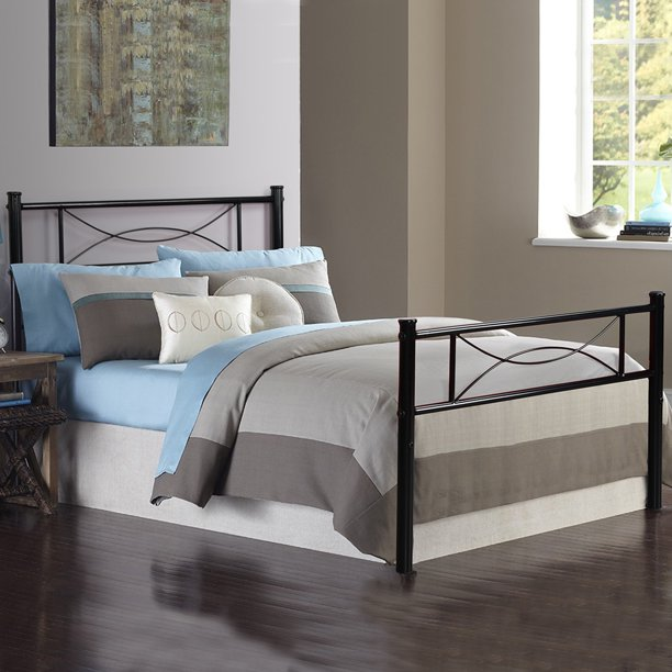 Teraves Bed Frame Twin Size with Headboard 6 Stable Legs Durable Metal Slat Support Metal Bed for Adults Kids Black