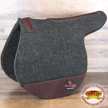 MADE IN USA HIGH QUALITY 100% WOOL FELT HILASON ENGLISH CHARCOAL GRAY SADDLE PAD ()