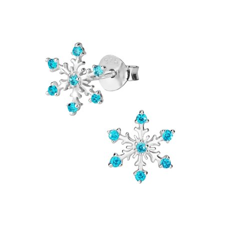 Hypoallergenic Sterling Silver Blue CZ Simulated Diamond Snowflake Stud Earrings for Kids (Nickel Free)