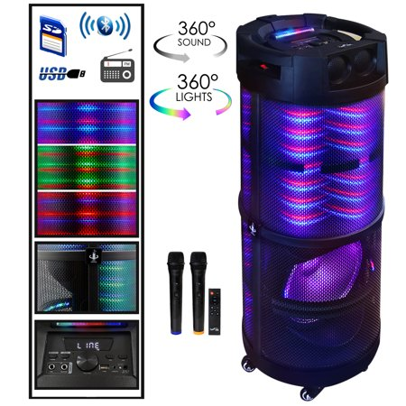 beFree Sound Rechargeable Bluetooth Portable Party Speaker With 360 Degree Sound Reactive LED Lights and 2 Wireless Microphones Party Portable Bluetooth
