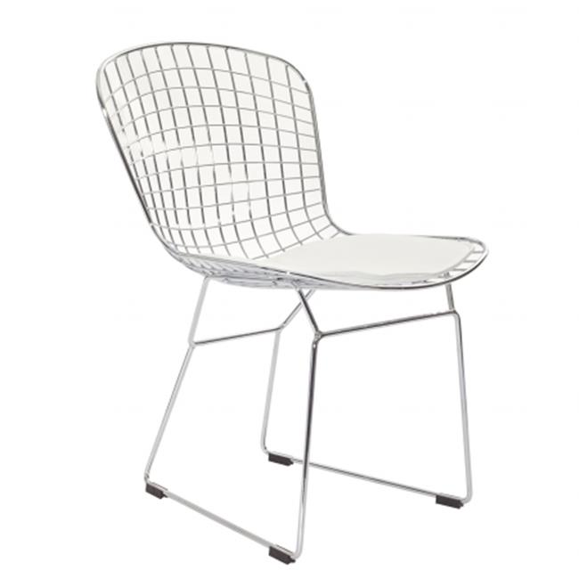 East End Imports EEI-161-WHI CAD Wire Side Chair in Silver Frame with White Cushion