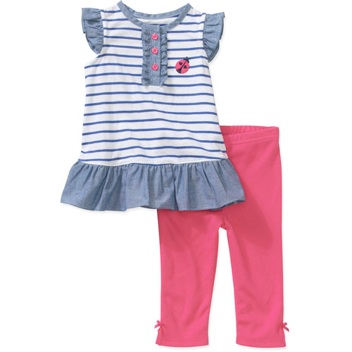 Child of Mine by Carters Newborn Girls' 2-Piece Ruffle Stripe Tunic and Legging Set
