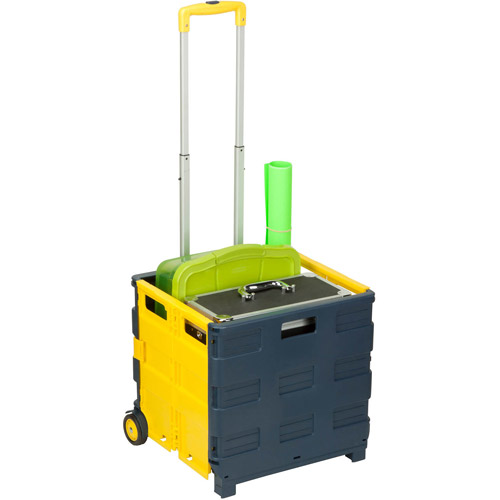 Honey Can Do Folding 2-Wheel Utility Crate Rolling Cart, Multicolor