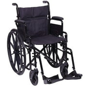 Carex Steel Wheelchair with Flip-Back Arms, Foldable Back, and Swing Away Footrests, Black