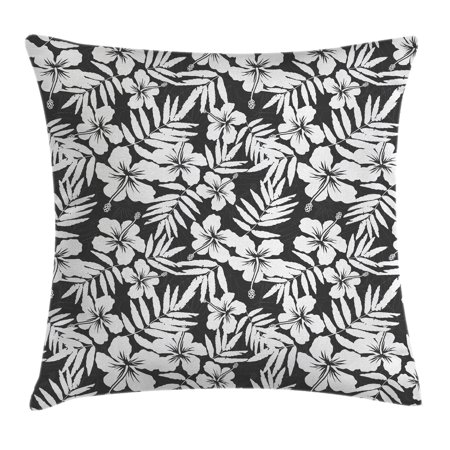 Tropical Decor Throw Pillow Cushion Cover, Artisan Exotic Hibiscus Flowers Fern Leaves Pattern Nature Plant Picture, Decorative Square Accent Pillow Case, 18 X 18 Inches, Grey White, by Ambesonne