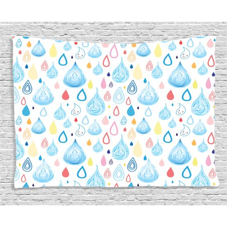 Home Decor Tapestry, Various Embellished Large and Small Heavy Rain Drops Fluid Squall Graphic Art Print, Wall Hanging for Bedroom Living Room Dorm Decor, 80W X 60L Inches, Multi, by Ambesonne