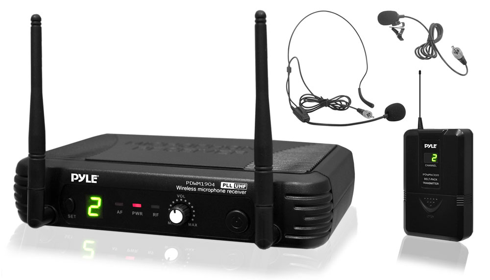 Pyle PDWM1904 Premier Series Professional UHF Wireless Microphone System, Includes Body-Pack Transmitter,... by Pyle