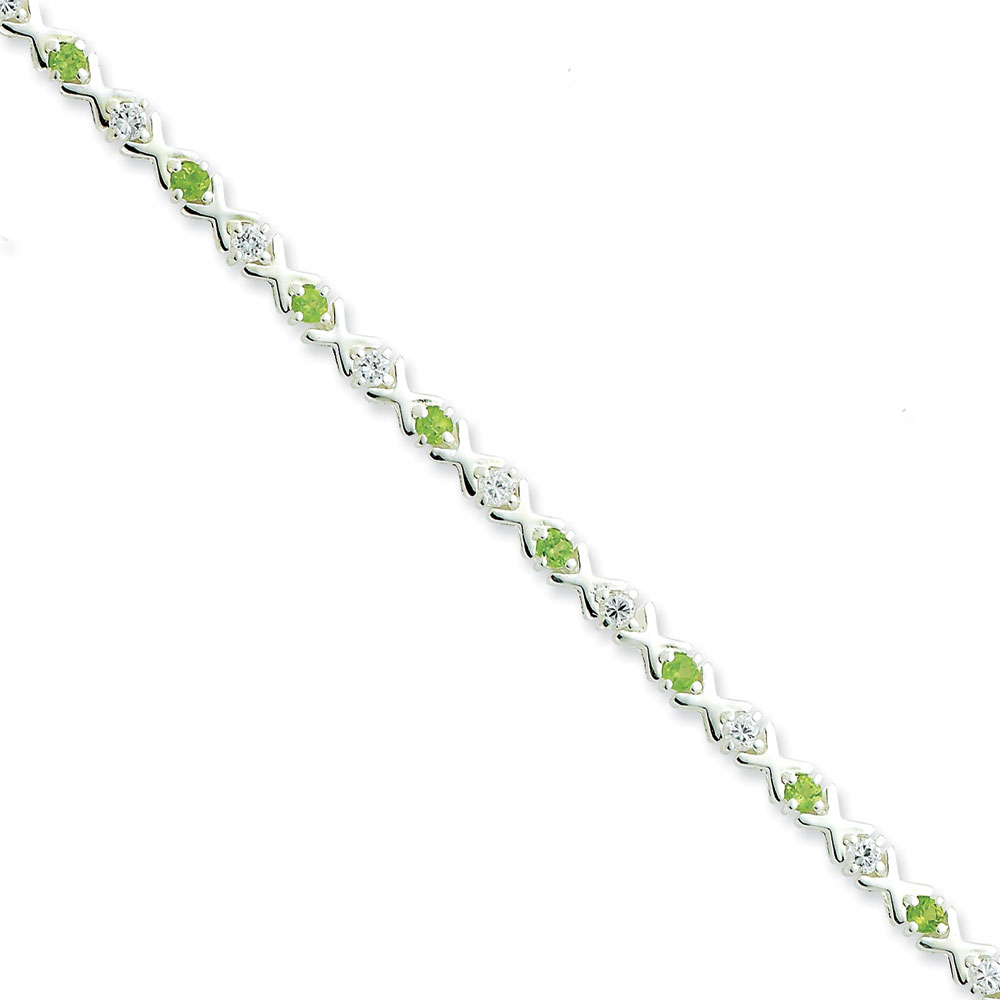 Sterling Silver Peridot and Cubic Zirconia Bracelet 7.5 Inch Box Clasp by