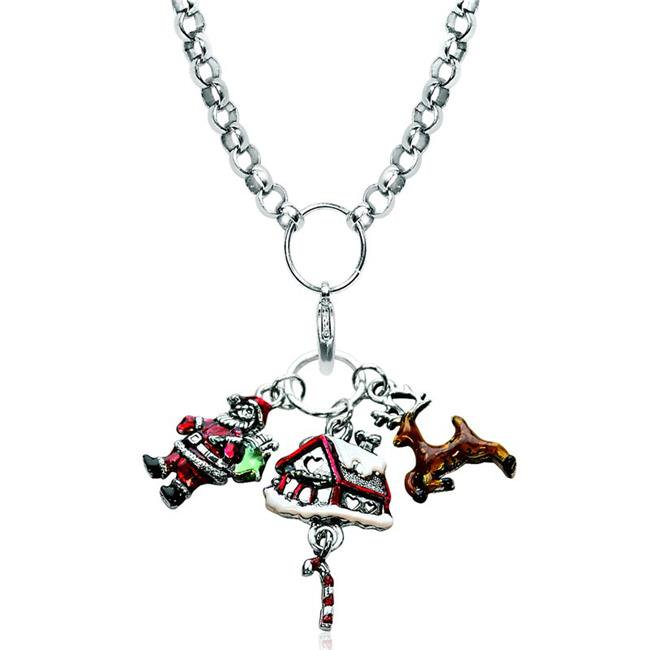 Whimsical Gifts 1301S-NL Christmas Charm Necklace In Silver