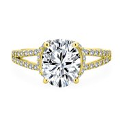 Classic Traditional 3CT AAA CZ Brilliant Cut Solitaire Oval Engagement Ring for Women With Split Shank Thin Band Yellow !4K Gold Plated .925 Sterling Silver