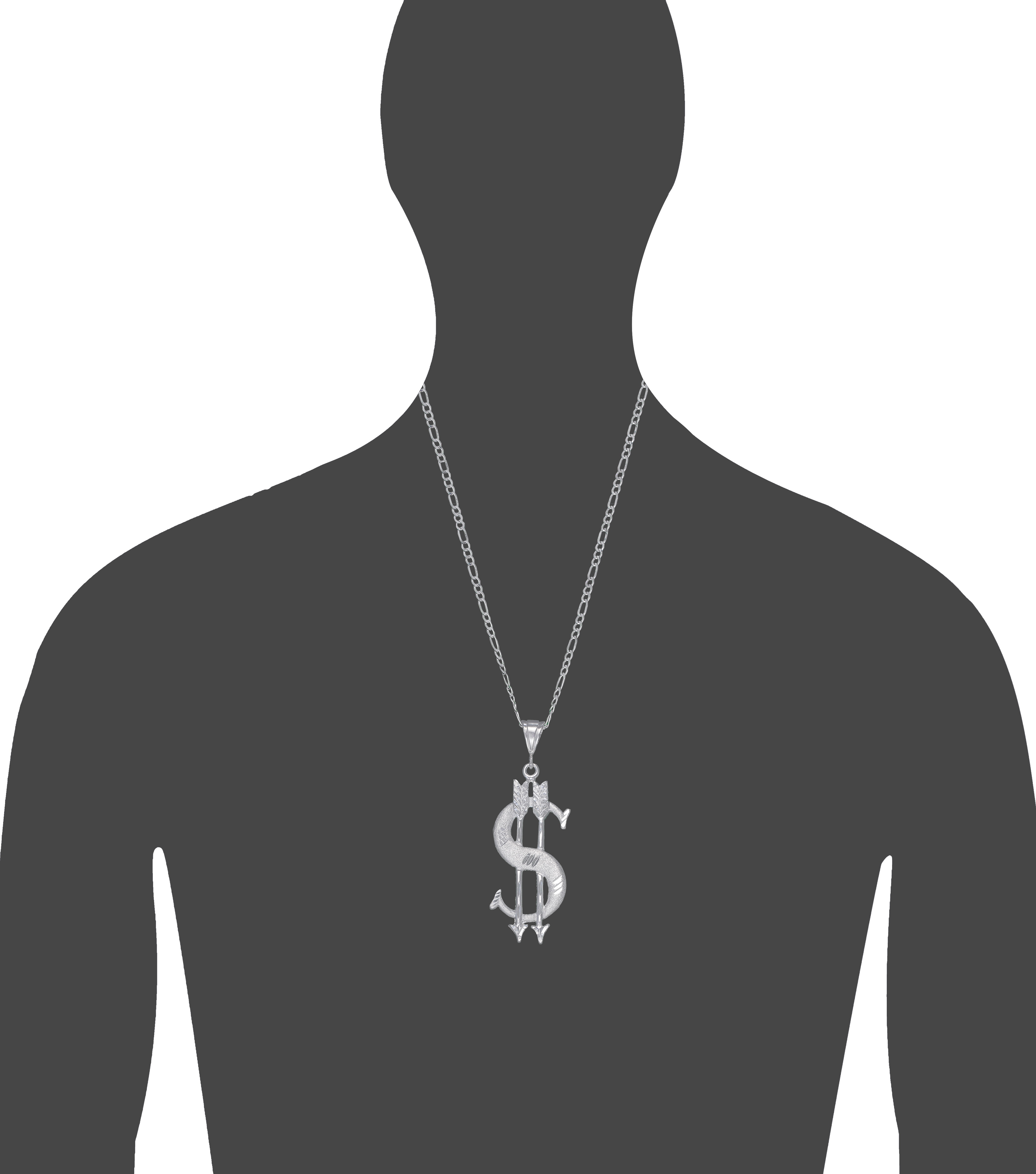 Sterling Silver Arrow and Dollar Sign Charm Pendant Necklace 2.2 Inches 3.7 Grams with Diamond Cut Finish and 24 Inch Figaro Chain