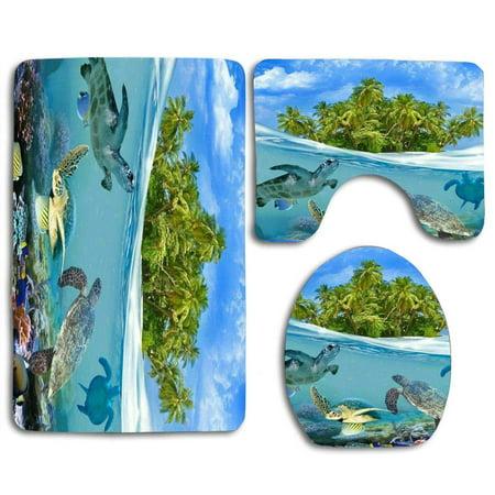PUDMAD Island Aqua Sea Turtle 3 Piece Bathroom Rugs Set Bath Rug Contour Mat and Toilet Lid Cover ()