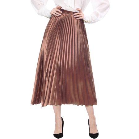 Women's High Waist Party Accordion Pleats Metallic Midi Skirt Dress - Metallic Silver Skirt