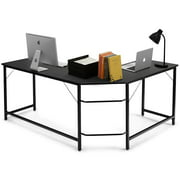 L-shaped Computer Desk Corner Office Laptop Game Table Black/Natural