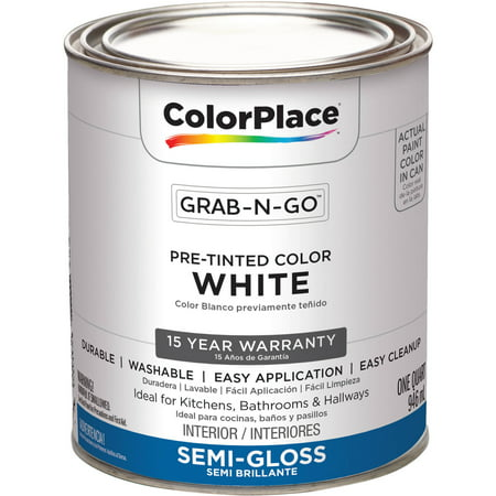- ColorPlace Pre Mixed Ready To Use, Interior Paint, White, Semi-Gloss Finish, 1 Quart