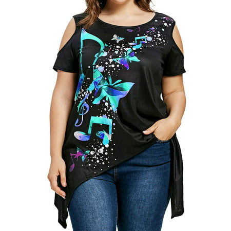 ZXZY Women Floral Print Cold Shoulder Plus Size Tops XL-5XL